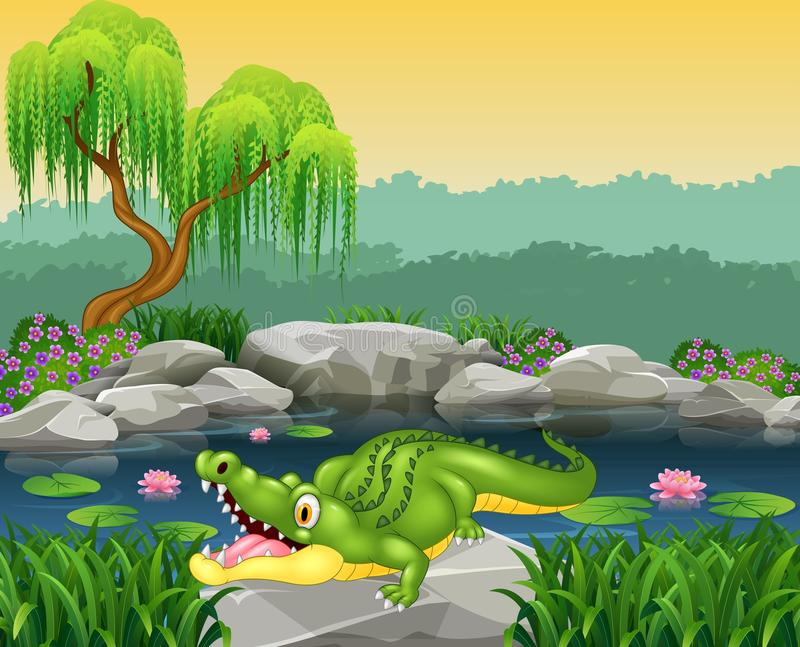 Cute little crocodile posing on the rock stock illustration