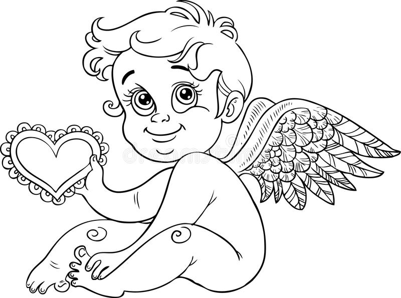 Cute little cupid with Valentine, black outline royalty free stock photo