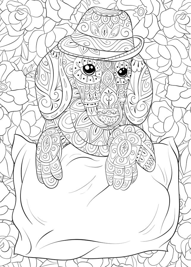 Adult Coloring Page A Cute Dachshund Wearing A Hat On The Floral ...