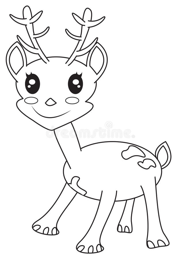 Cute Little Deer Coloring Page Stock Illustration - Illustration of ...