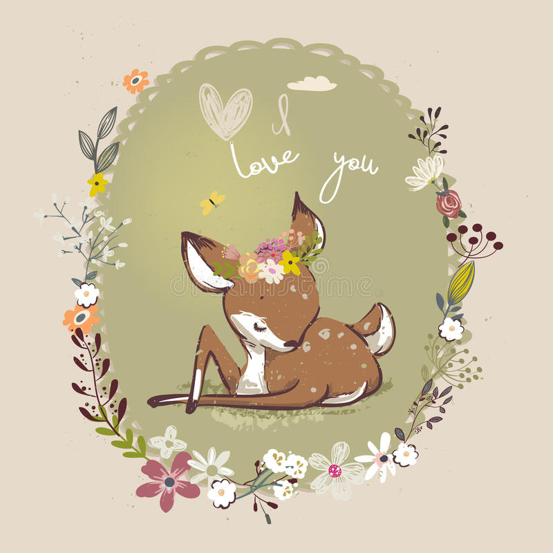 Cute little deer with floral wreath royalty free illustration