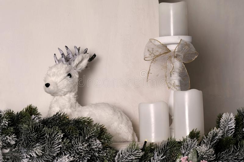 Cute little deer. Winter, Christmas, New Year decoration. Decorative deer stock images