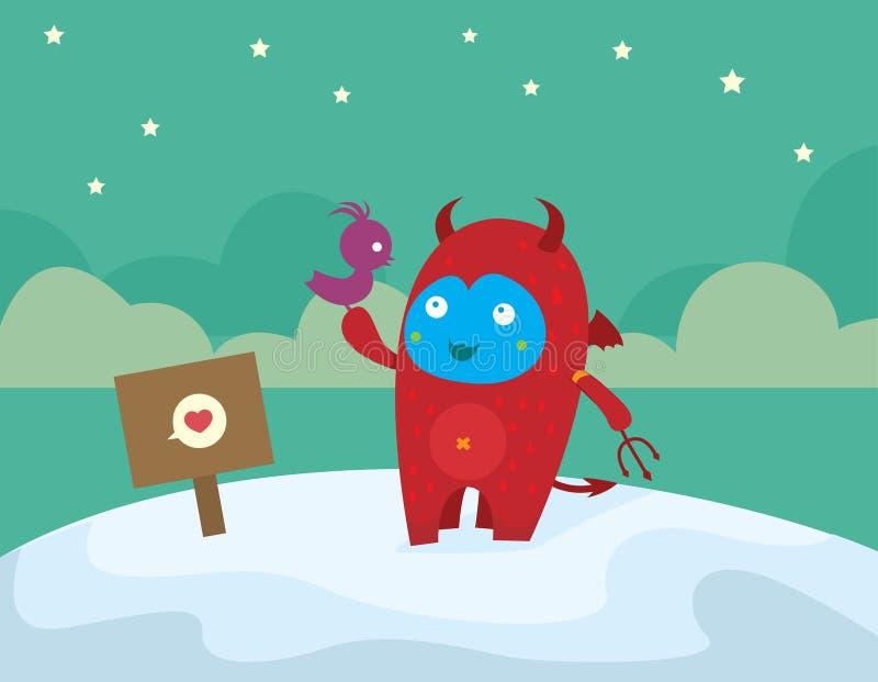 Download Cute little devil stock illustration. Image of bird, pattern - 11848263