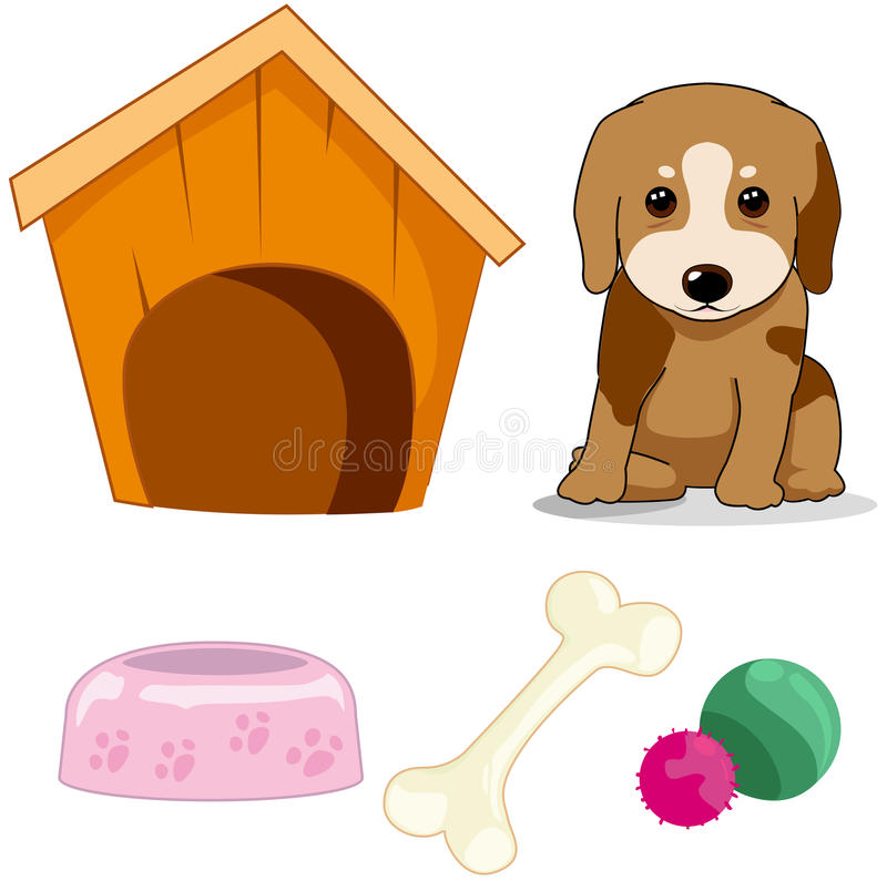 Cute little dog with doghouse ,bone,bowl and yarns royalty free illustration