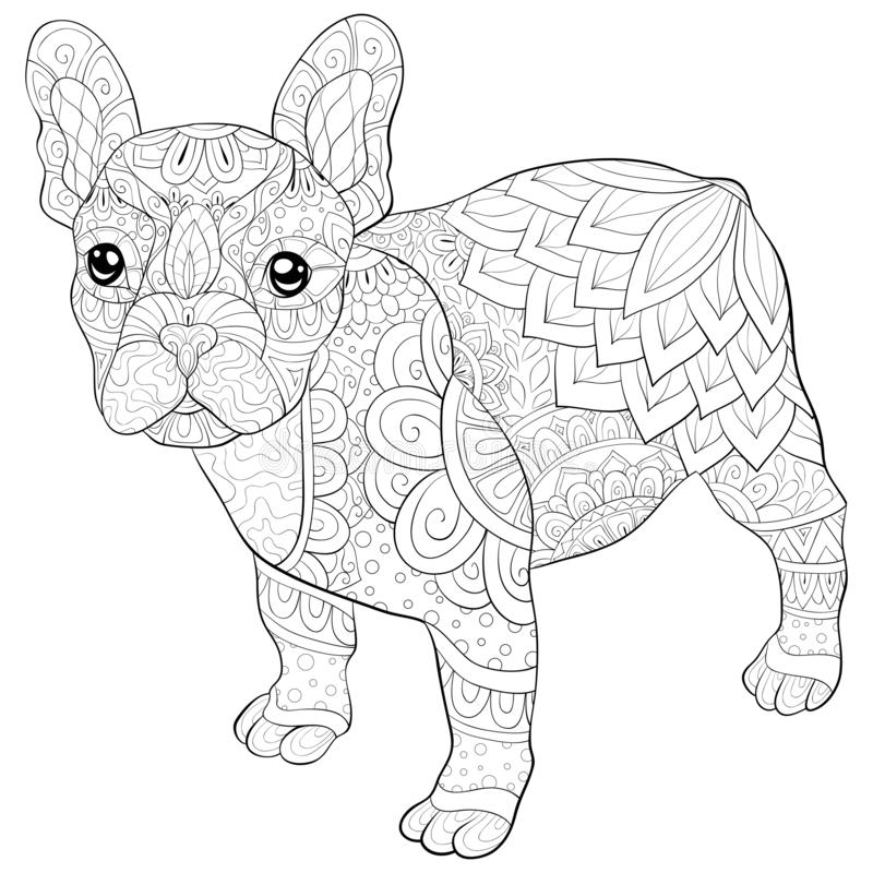 Adult coloring page,book a cute dog image for relaxing activity. A cute little dog image for adults,an zen tangle ornaments illutration for relaxing.Poster royalty free illustration