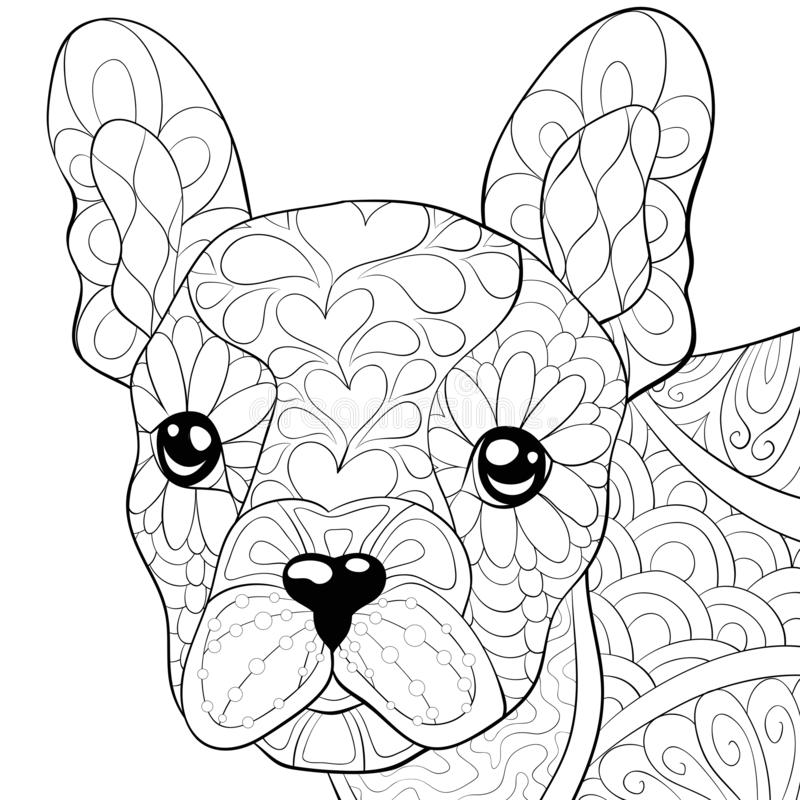 Adult coloring page,book a cute dog image for relaxing activity. A cute little dog image for adults,an zen tangle ornaments illutration for relaxing.Poster stock illustration