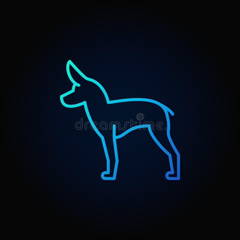 Cute little dog vector blue icon royalty free illustration