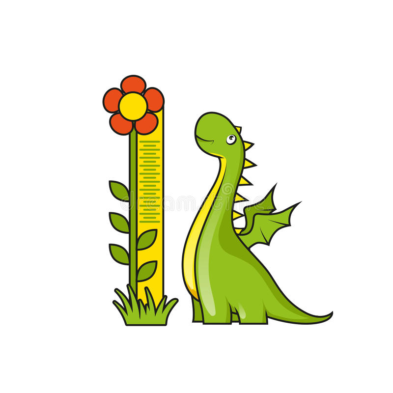 Free Cute Little Dragon And Height Measuring Scale Stock Image - 44763981