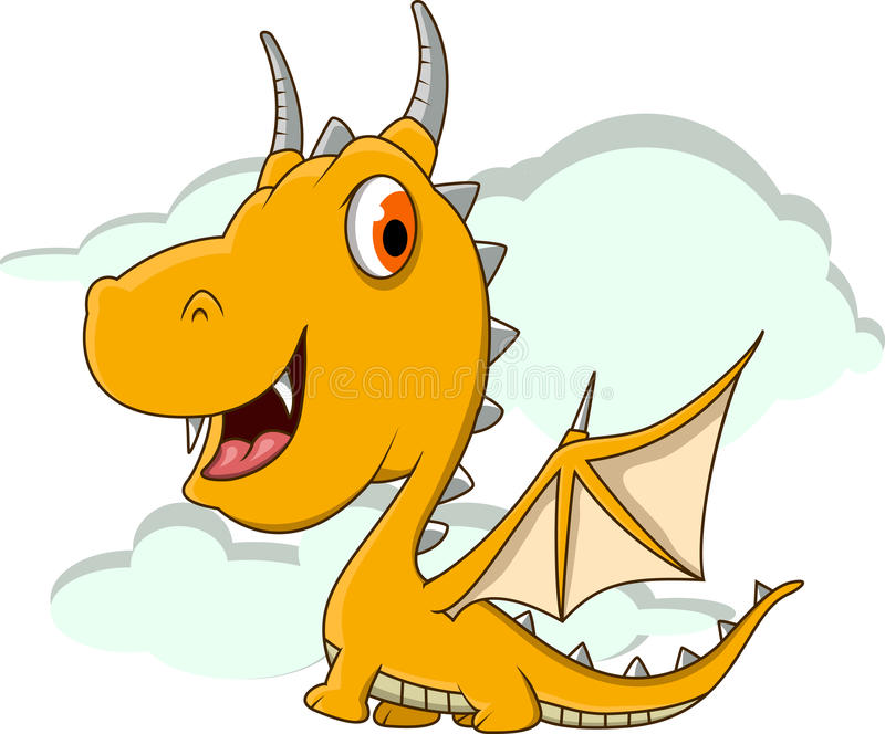 Cute little dragon cartoon royalty free illustration