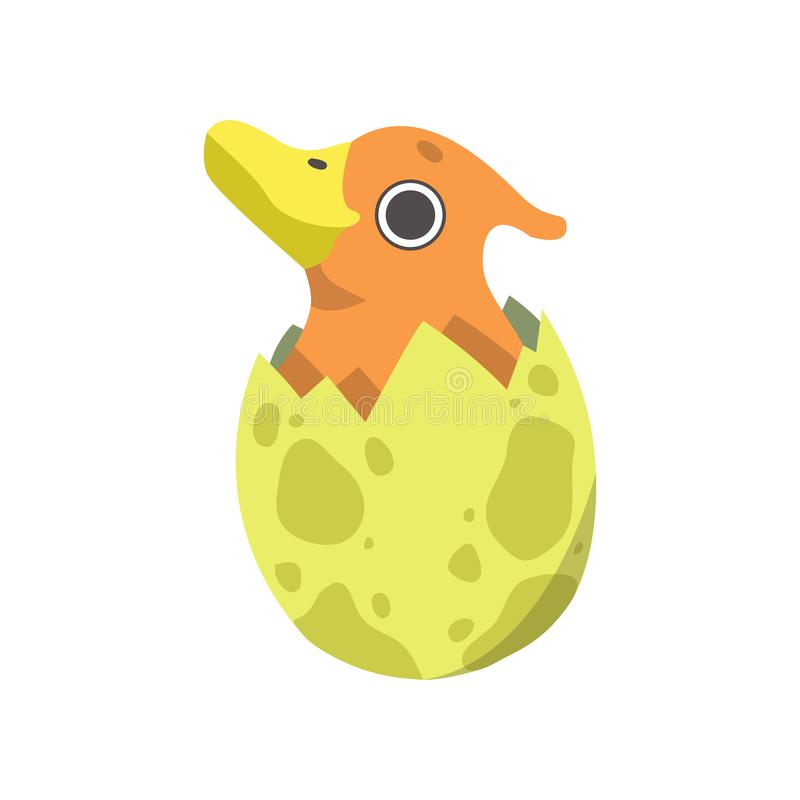 Cute Little Duckbill Dino Hatched from Yellow Egg, Adorable Baby Dinosaur Character Vector Illustration vector illustration