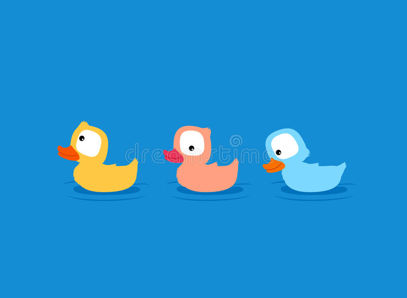 Cute little ducklings cartoon. Cute little duckling cartoon. Fluffy yellow, pink and blue ducks stock illustration