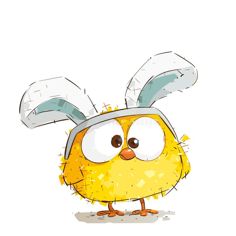 Cute Little Easter Chicken Wearing Bunny Ears.  stock illustration
