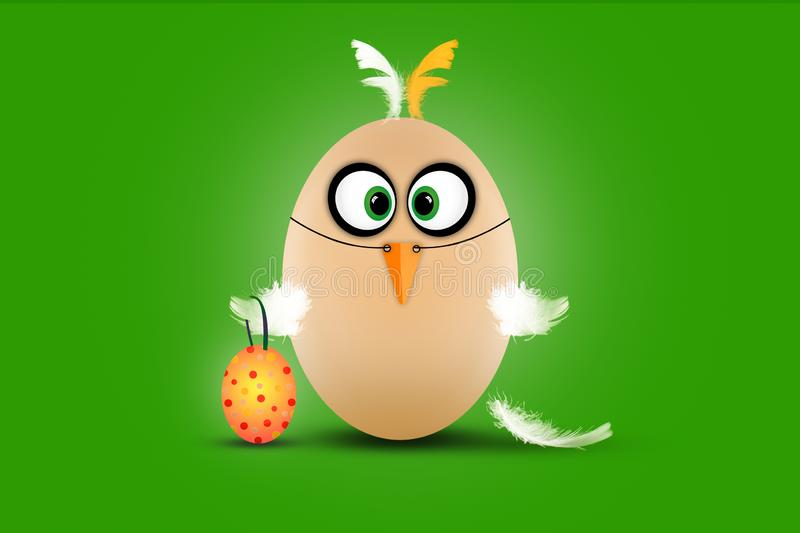 Cute little Easter egg dressed as a funny chicken on green background vector illustration