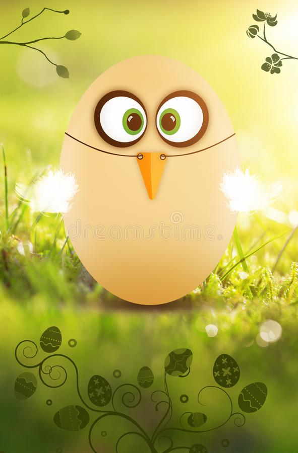 Cute little Easter egg dressed as a funny chicken on green background royalty free illustration