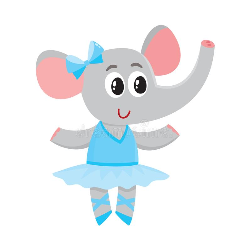 Cute little elephant character, ballet dancer in tutu skirt vector illustration