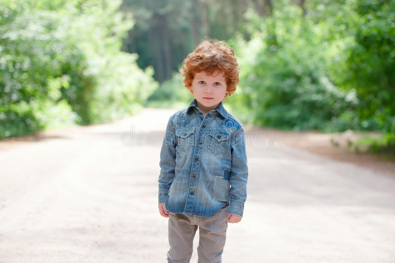 Cute Little Emotional Boy Outdoors Stock Image - Image of ...
