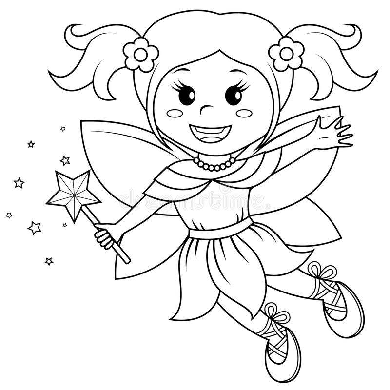 Cute little fairy. Black and white illustration for coloring book . Vector illustration stock illustration