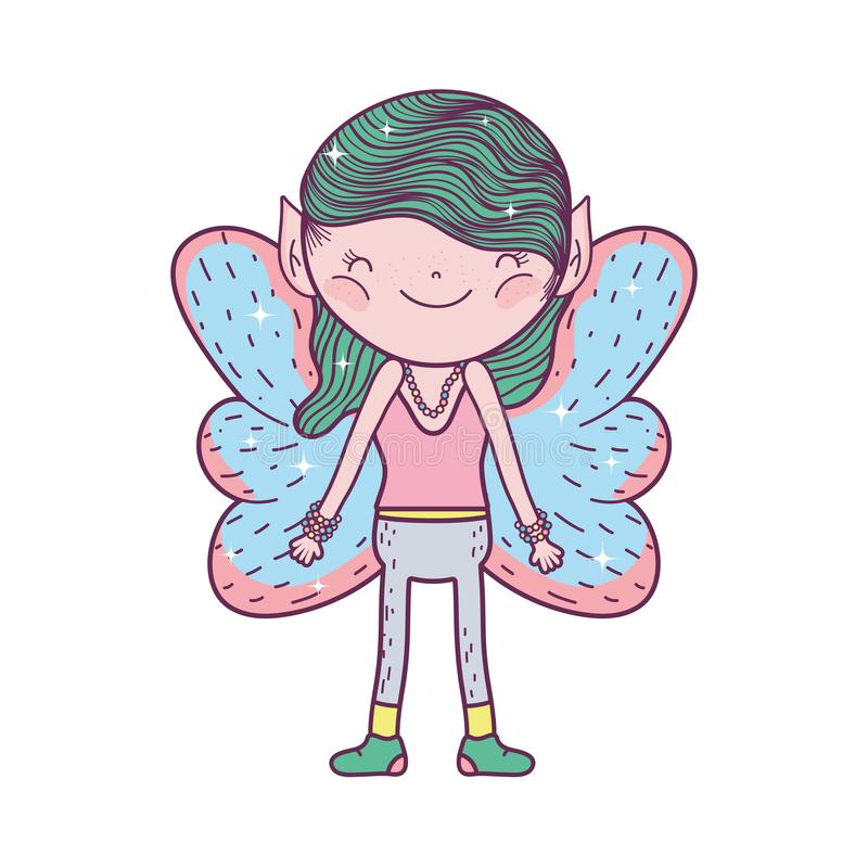 Cute little fairy with butterfly wings character stock illustration