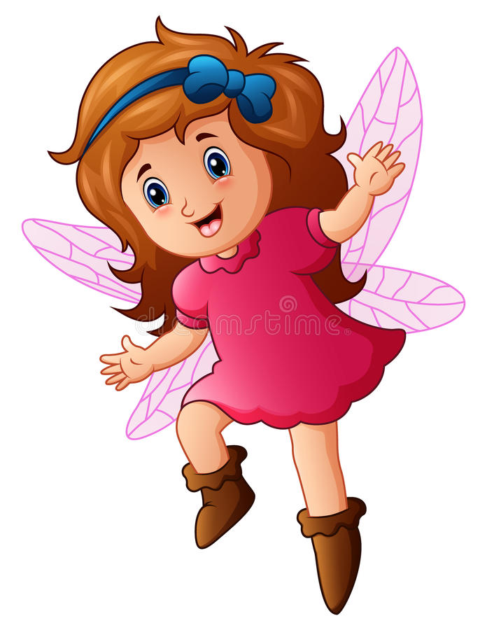 Cute little fairy in fly stock illustration