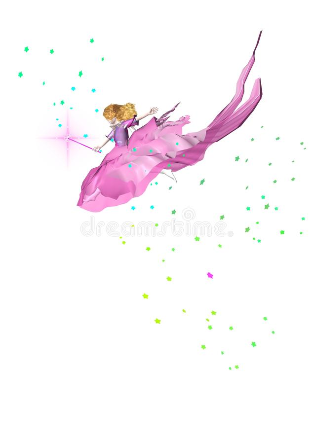 A cute little fairy flying in the sky stock illustration
