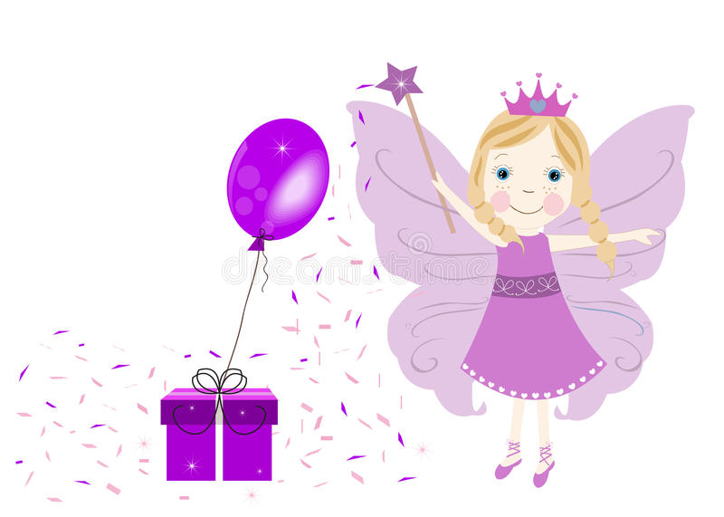 Cute little fairy with gift box and balloon vector illustration