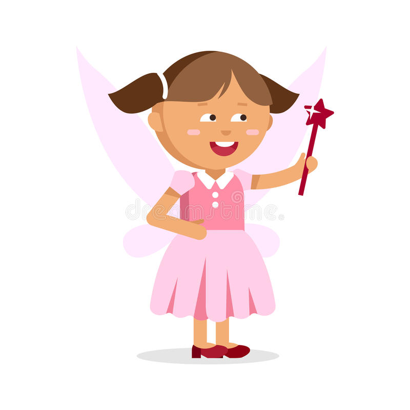 Cute little fairy girl with Magic wand royalty free illustration
