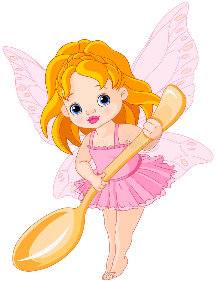 Cute little fairy. Illustration of cute little fairy holds gold spoon royalty free illustration