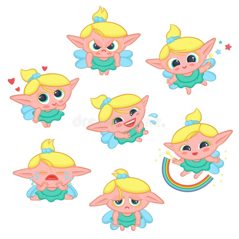 Cute little fairy with wings expresses different emotions joy sadness anger. Cartoon elf sorceress in dress and with stock illustration