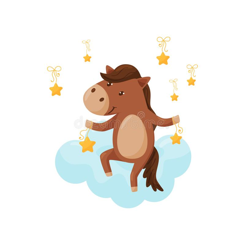 Cute little foal sleeping on a cloud, lovely animal cartoon character, good night design element, sweet dreams vector vector illustration