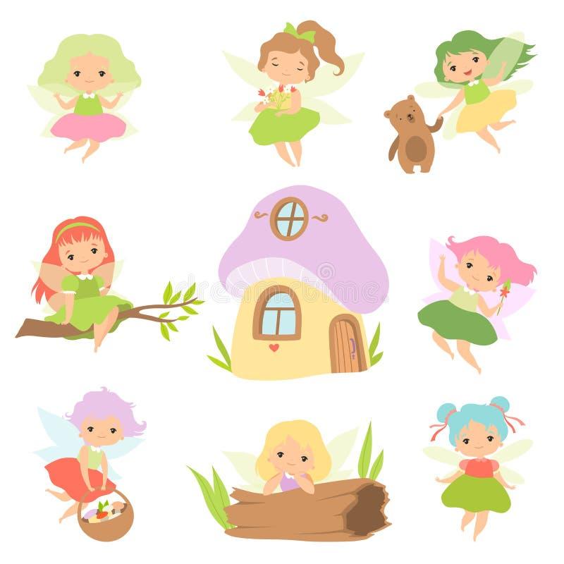 Cute Little Forest Fairies Set, Lovely Fairies Girls Cartoon Characters and Fairytale Fantasy House Vector Illustration vector illustration