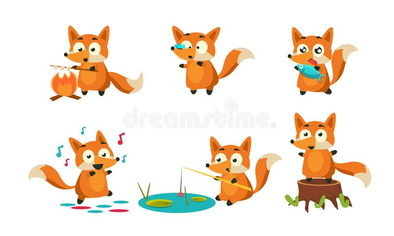 Cute Little Fox Doing Different Activities Set, Adorable Animal Character Roasting Marshmallow, Dancing, Fishing, Eating vector illustration