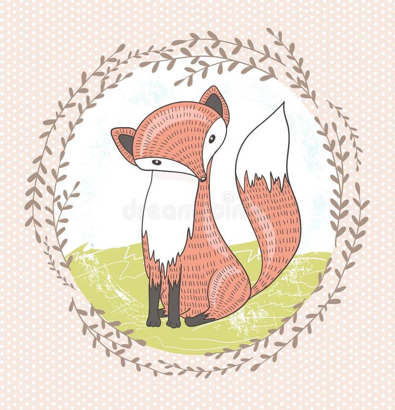 Cute little fox illustration royalty free illustration