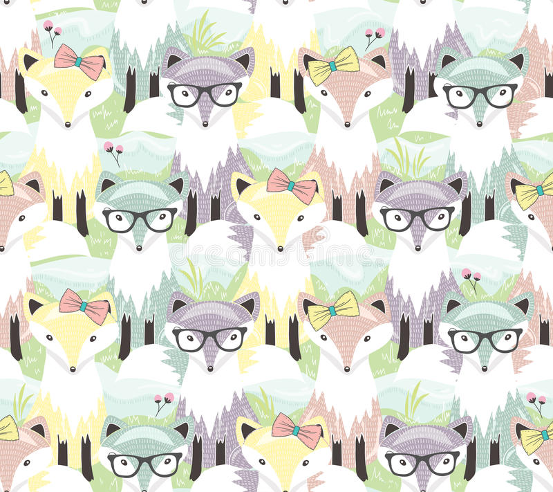 Cute little fox seamless pattern. Background with animals for ch royalty free illustration