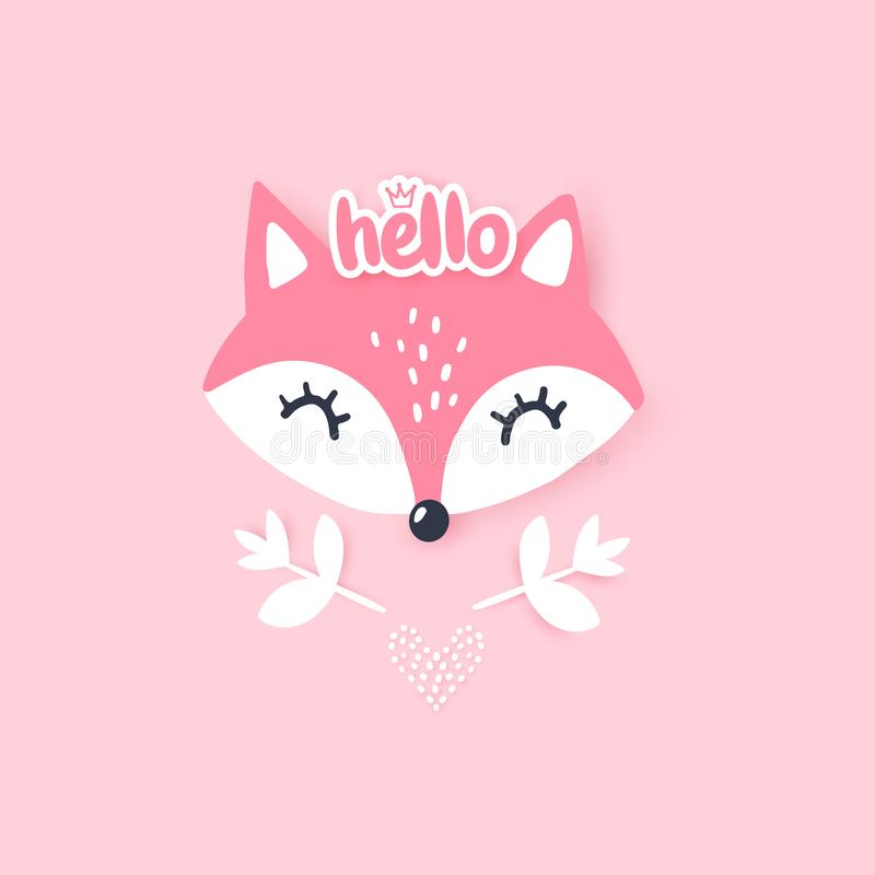 Cute little fox. Vector animal illustration. Hand drawn cartoon fox. It can be used for baby t-shirt design, fashion print, cards, design element for children` royalty free illustration