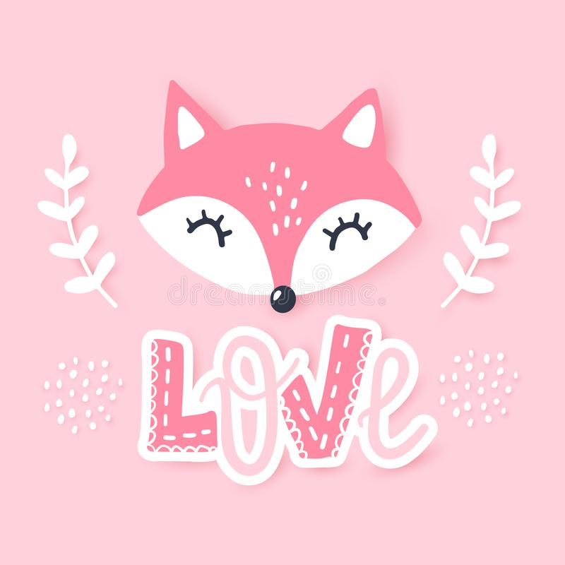 Cute little fox. Vector animal illustration. Hand drawn cartoon fox. It can be used for baby t-shirt design, fashion print, cards, design element for children` stock illustration