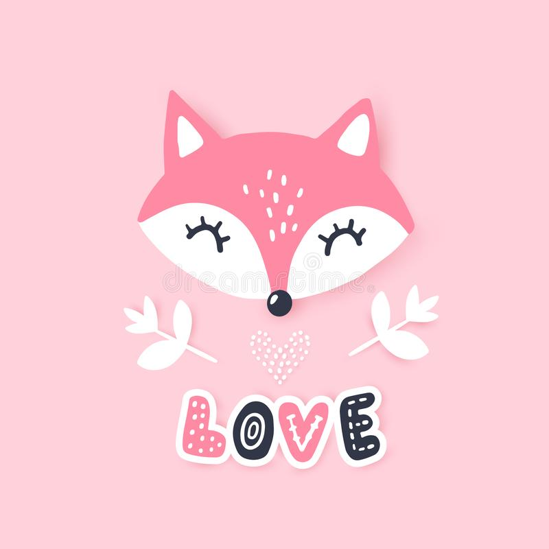 Cute little fox. Vector animal illustration. Hand drawn cartoon fox. It can be used for baby t-shirt design, room decoration, cards, design element for royalty free illustration