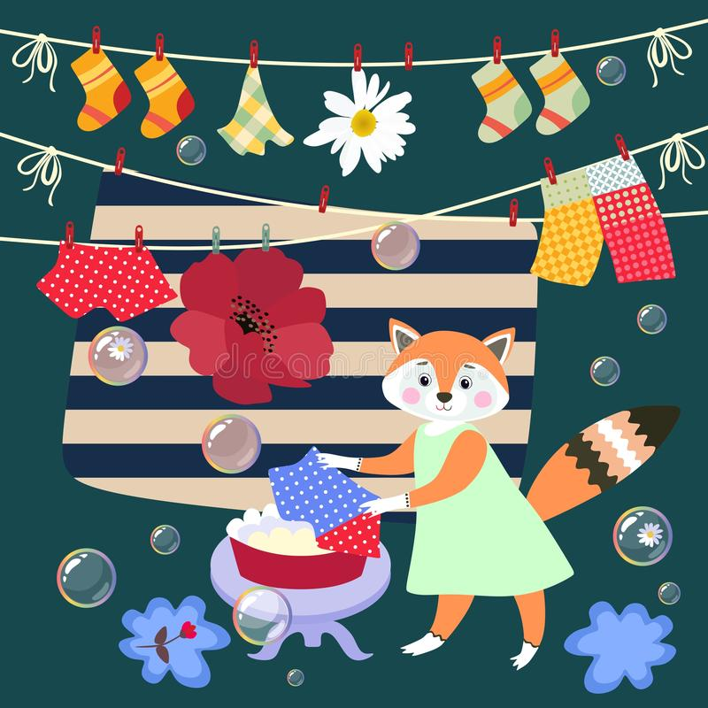 Cute little fox washes clothes. Vector illustration. Beautiful card with lovely animal, bubbles, poppy and daisy vector illustration