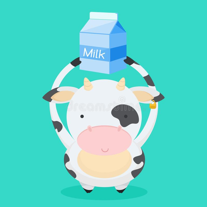 Cute, little, funny the cow smiles. And holds milk over his head. Milk, farm, pet, cow, calf. Nice face, spots on the body. Modern vector flat design image royalty free illustration