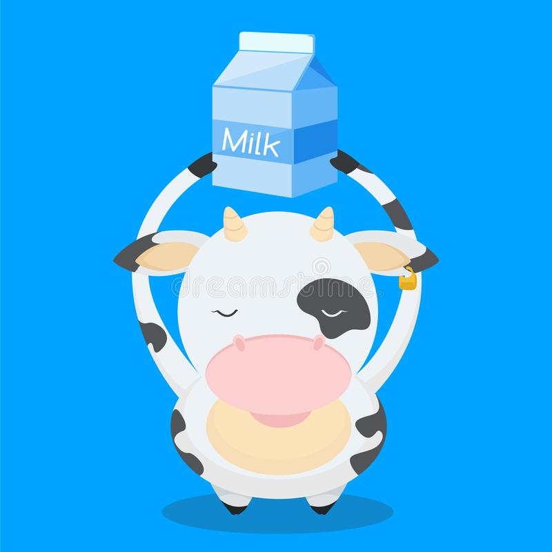 Cute, little, funny the cow smiles. And holds milk over his head. Milk, farm, pet, cow, calf. Nice face, spots on the body. Modern vector flat design image vector illustration