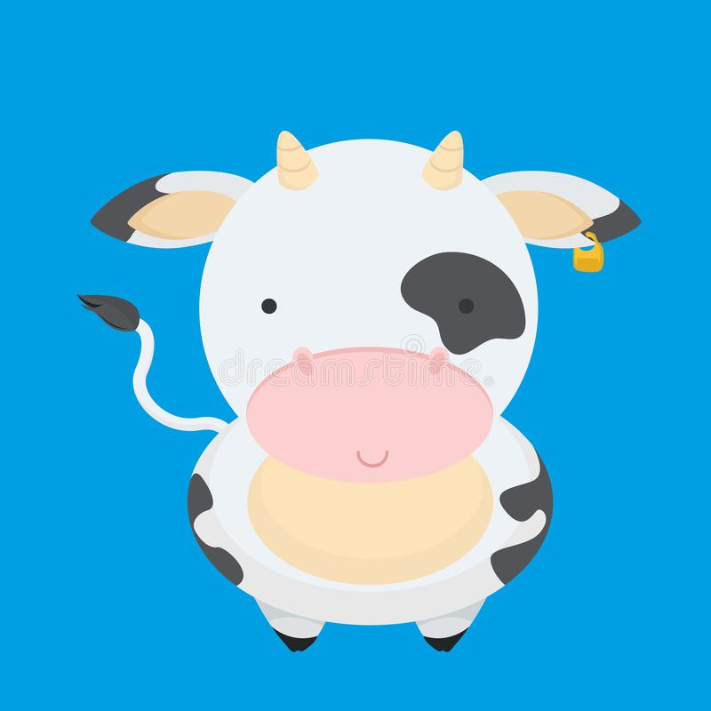 Cute, little, funny the cow smiles. With a tail, pink nose. Milk, farm, pet, cow, calf. Nice face, spots on the body. Modern vector flat design image isolated stock illustration