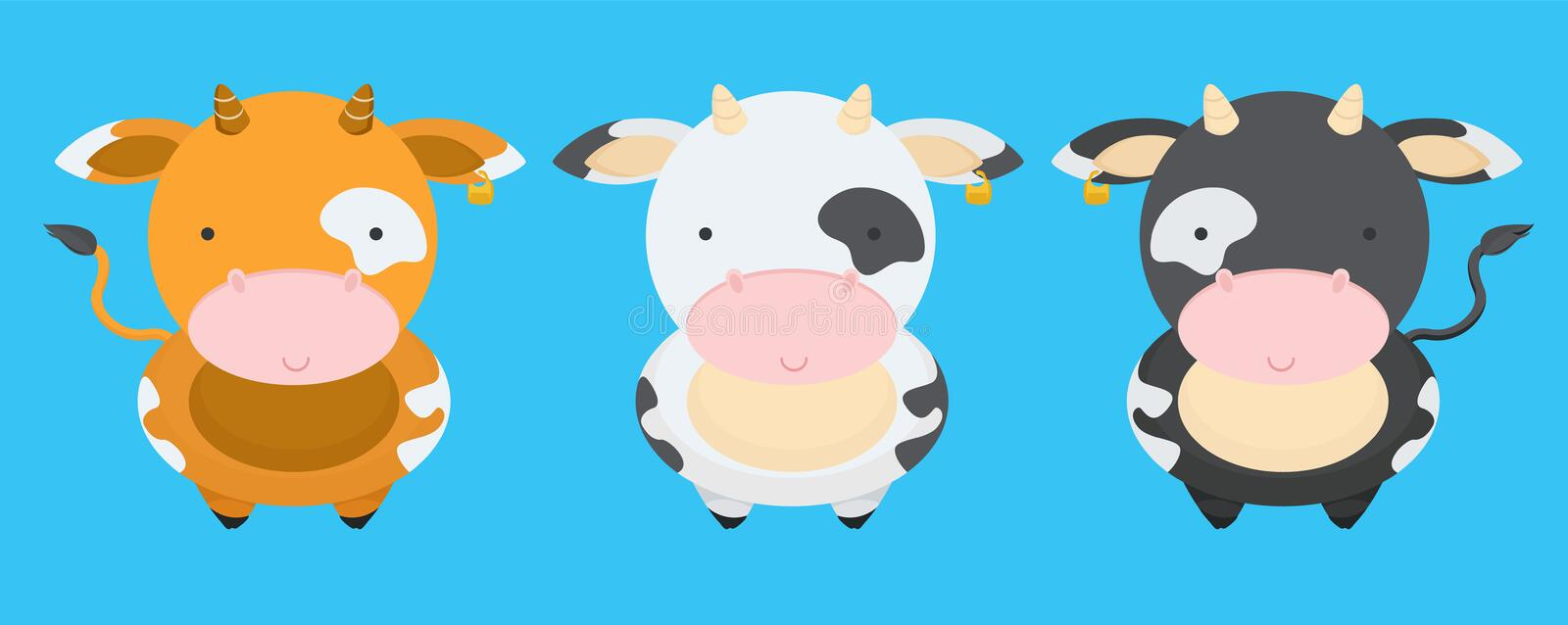 Cute, little, funny set of cows smiles. With tail, pink nose. Milk, farm, pet, cow, calf. Nice face, spots on the body. Modern vector flat design image stock illustration