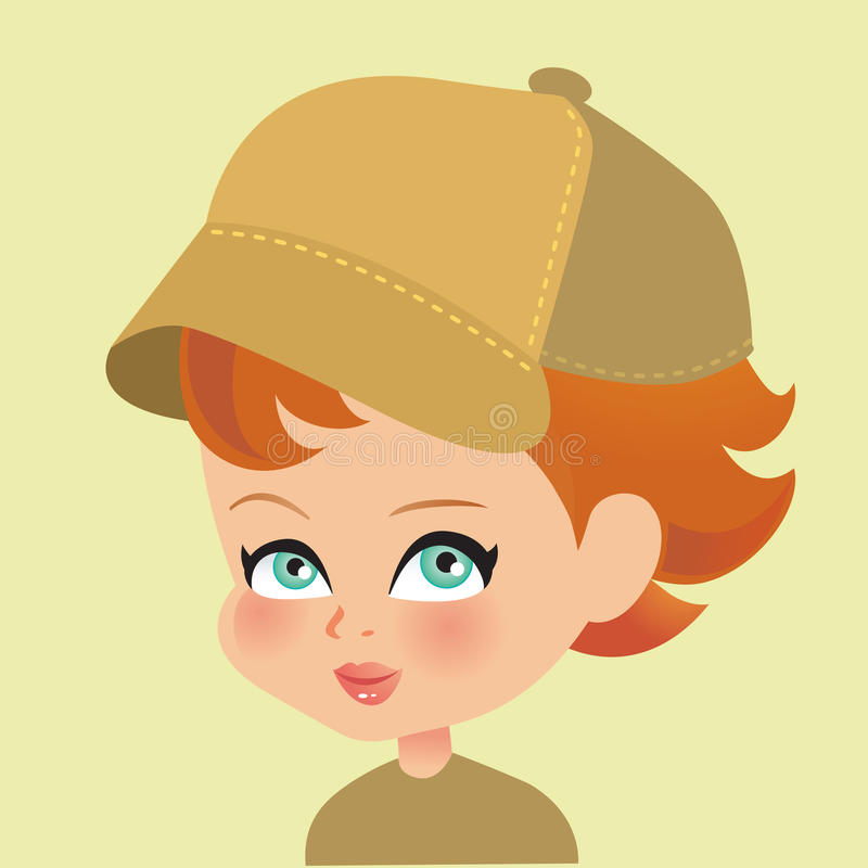 Young Girl Portrait Wearing Cap And Looking At The Stock Photos