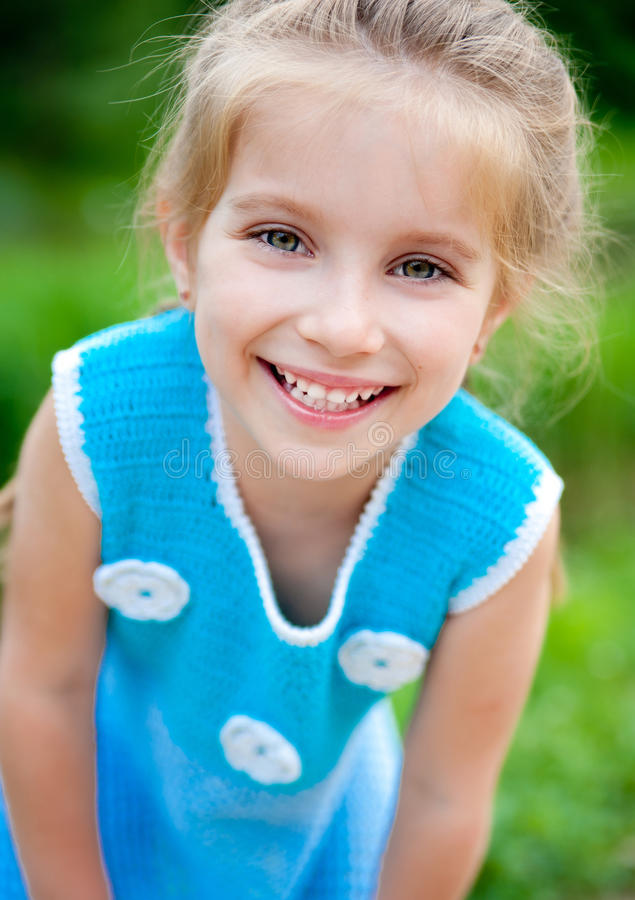 Download Cute little girl stock photo. Image of blond, meadow - 24823536