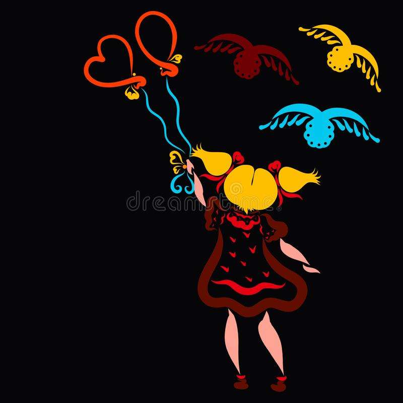 Cute little girl with balloons and birds, holiday and flight stock illustration