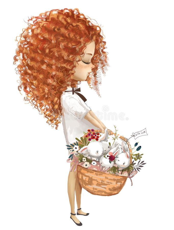 Cute little girl with basket of hares stock photography