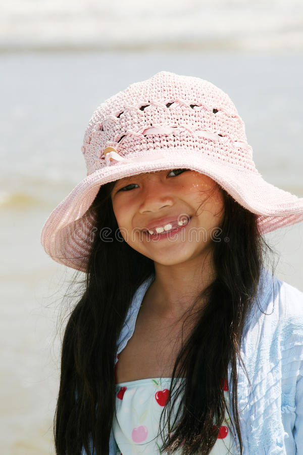 Download Cute little girl at beach stock image. Image of cute - 13410525