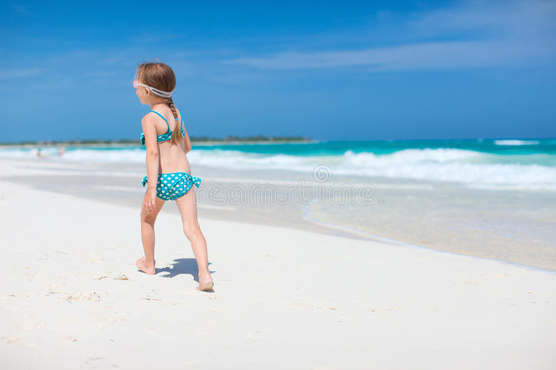 Download Cute little girl at beach stock image. Image of outdoor - 34175391