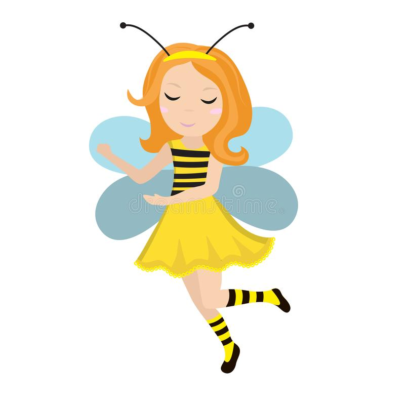 Cute little girl bee icon in flat, cartoon style. Baby carnival costume bee. Isolated on white background. Vector royalty free illustration