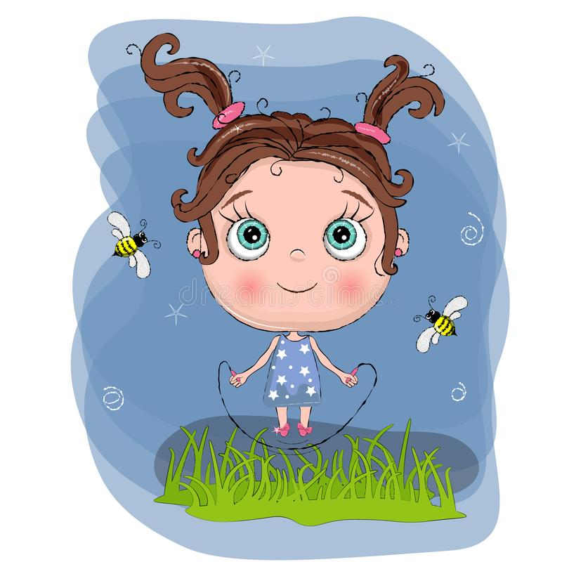 Cute little girl with blue dress jump with rope with green grass and bee, adorable baby cartoon background. lovely greeting card. vector illustration