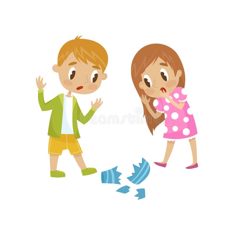 Cute little girl and boy broken a vase, hoodlum cheerful kid, bad child behavior vector Illustration on a white. Cute little girl and boy broken a vase, hoodlum royalty free illustration